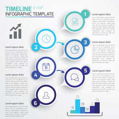 6-Step process infographics light vector background, blue