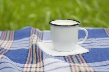 Mug with milk on tartan tablecloth