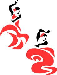stylized flamenco dancer