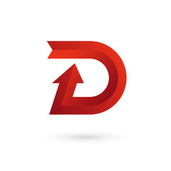 Letter D arrow ribbon logo icon design template elements