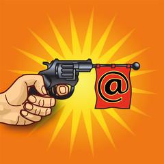 Hand mit Revolver, Email und Nachrichten