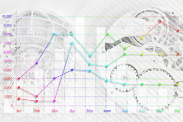 abstract clock and business graph