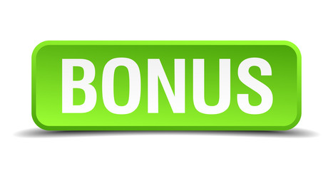 Bonus green 3d realistic square isolated button