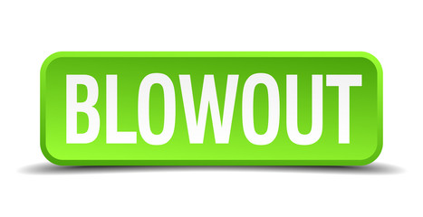 blowout green 3d realistic square isolated button