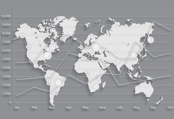 World Map. business chart graph.