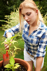 junge schöne Frau bei Gartenarbeit