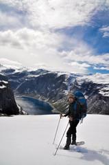 Hiker on Trolltunga, Norway