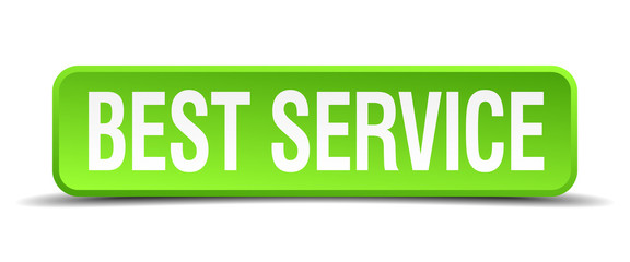 best service green 3d realistic square isolated button