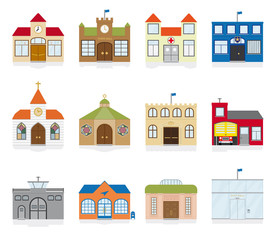 Small Town Public Building Icons Vector Illustration