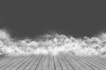 Wooden boards, heaven and clouds. gray background