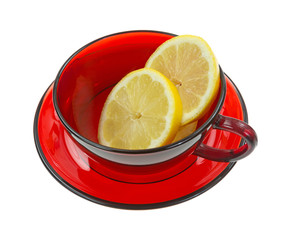 Slices of lemon in cup