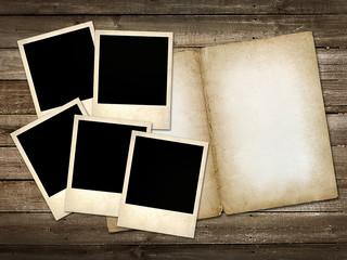 mani Polaroid-style photo on the wooden background