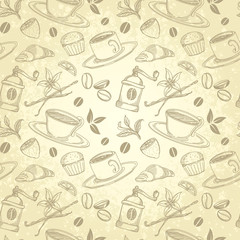 Tea and Coffee Vintage Background in Handmade Style