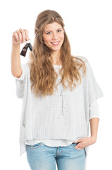 Young Woman With Car Key