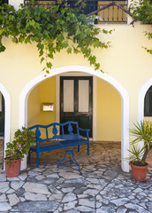 colourful housefront, corfu, greece