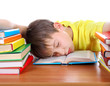 Tired Schoolboy sleeping