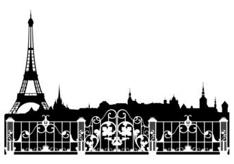 Paris city decorative border