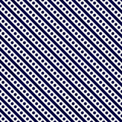 Navy Blue and White Small Polka Dots and Stripes Pattern Repeat
