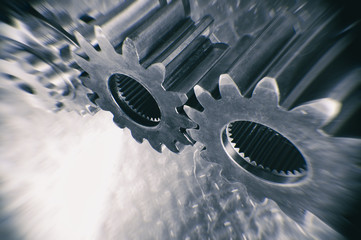 giant titanium and steel gears in motion
