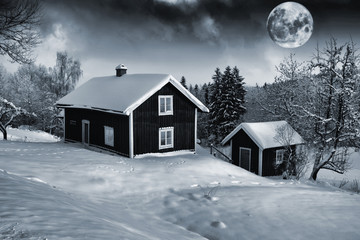 old rural cottages and giant full-moon