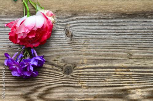 canvas print picture Holz Hintergrund Rose