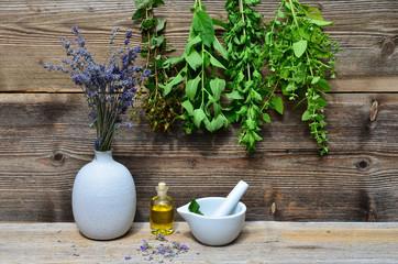 Tee Kräuter Holz Hintergrund