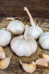 garlic fruit on wood table close up