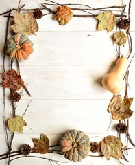 Pumpkin,pine cone and fall leaf