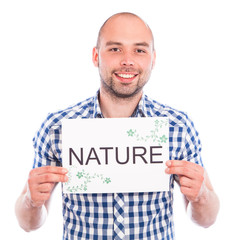 Happy young man with nature sign