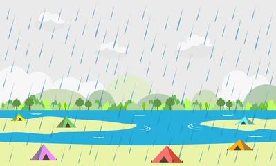 キャンプ場 豪雨