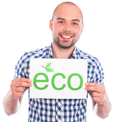 Happy young man with eco sign