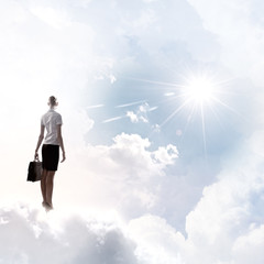 Businesswoman in heaven