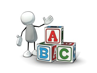little sketchy man  with toy blocks ABC