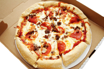 Take Out Pepperoni and Sausage Pizza Pie in a Box