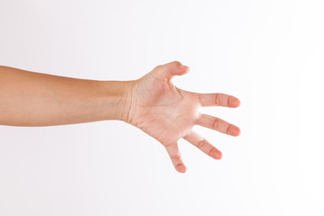 hand in claw gesture on a white isolated background