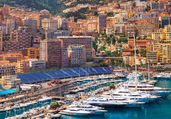 View of  Monaco harbour during formula 1 championship, Cote d'