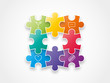 Puzzle pieces with icons concept vector illustration graphic