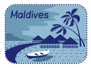 Illustration with wood bungalows in Maldives