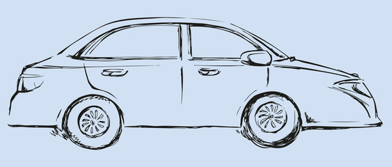 Vector drawing. Modern car. Side view