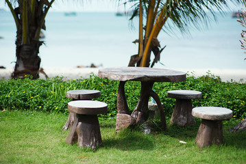 beach garden with wooden table and chairs - gardening and landsc