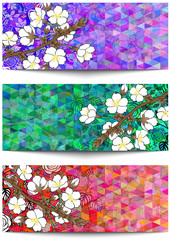 Banners with floral branch and triangle background
