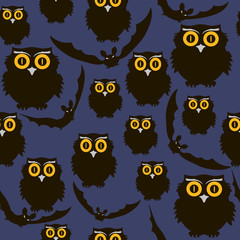 .Owls and bats. Seamless pattern