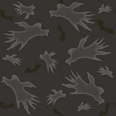 Halloween. Ghosts and bats. Seamless pattern