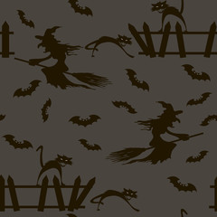 Halloween. Witch on a broomstick Bats. cats. Seamless pattern