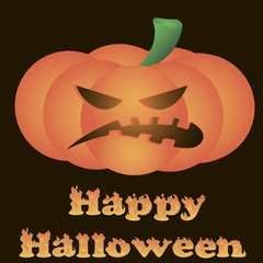 Halloween. Sinister Pumpkin. Hot text Happy Halloween
