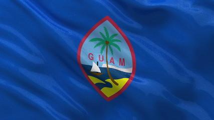Flag of Guam waving in the wind - seamless loop