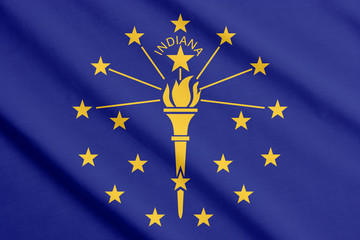 Waving flag of Indiana