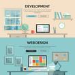Set of flat design concept for web development