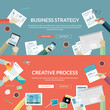 Set of flat design concepts for business and creative process