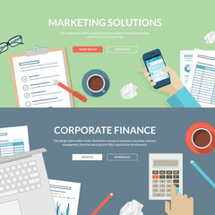 Flat design concepts for marketing and corporate finance